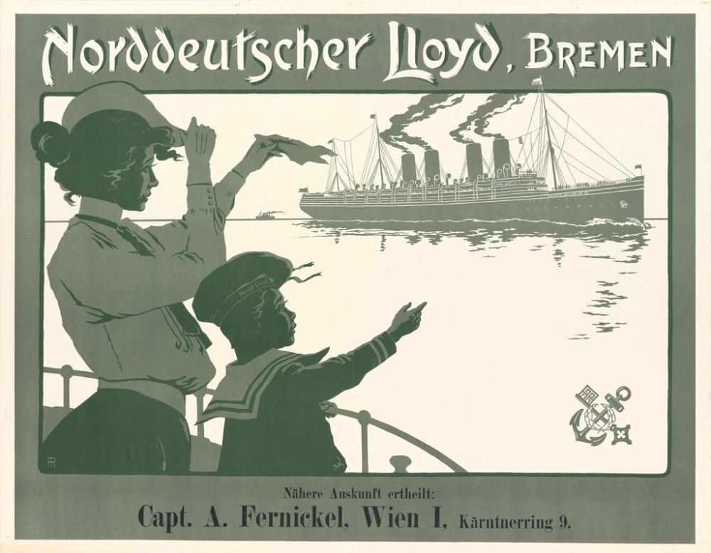 FRITZ REHM (1871-1928). NORDDEUTSCHER LLOYD, BREMEN [KAISER WILHELM II.] 1903. 26x34 inches, 67x86 cm.