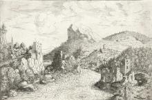 """HANS SEBALD LAUTENSACK Landscape with Tobias at a River (the """"Donaustrudel"""" near Grien)."""