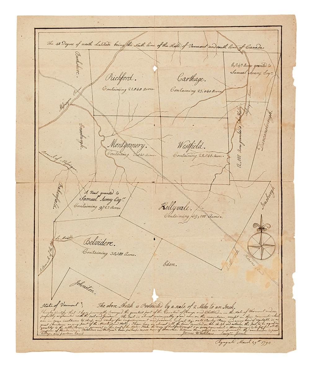 VERMONT.) Whitelaw, James. Map of several towns in northern