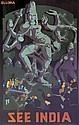 V. A. MALI (DATES UNKNOWN). SEE INDIA / ELLORA. Circa 1930. 39x25 inches, 100x63 cm. Bolton Fine Art, Bombay.