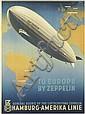 OTTOMAR ANTON (1895-1976). TO EUROPE BY ZEPPELIN. 1936. 32x23 inches, 81x59 cm. [Muhlmeister & Johler, Hamburg.]