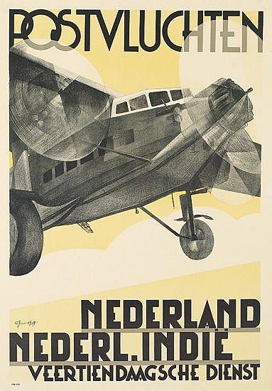 ADRIAAN VAN'T HOFF (1893-1939). POSTVLUCHTEN. 1930. 34x24 inches, 87x61 cm.