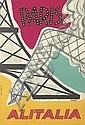 MARIUCCINI (DATES UNKNOWN). PARIS / ALITALIA. 1956. 38x26 inches, 98x68 cm. S.p.A. Arti Grafiche Panetto & Petrelli, Spoleto.