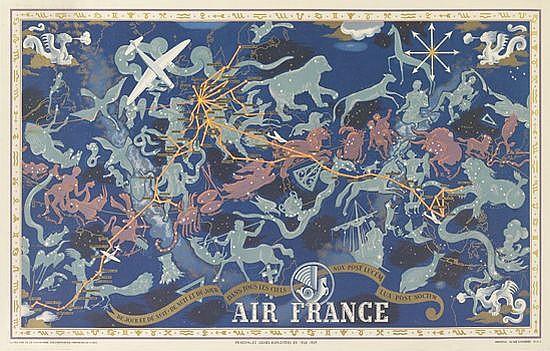 LUCIEN BOUCHER (1889-1971). AIR FRANCE / DE JOUR ET DE NUIT. 1938. 24x38 inches, 63x98 cm. Perceval, Paris.