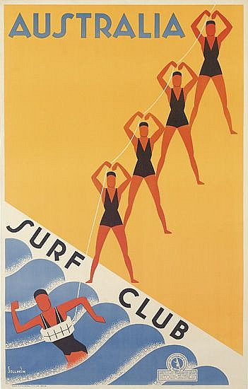 GERT SELLHEIM (1901-1970). AUSTRALIA / SURF CLUB. Circa 1936. 39x25 inches, 101x63 cm. Sands & McDougall, Melbourne.