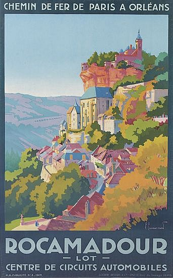 PIERRE COMMARMOND (1897-1983). ROCAMADOUR. 1929. 37x23 inches, 96x58 cm. Lucien Serre & Co., Paris.