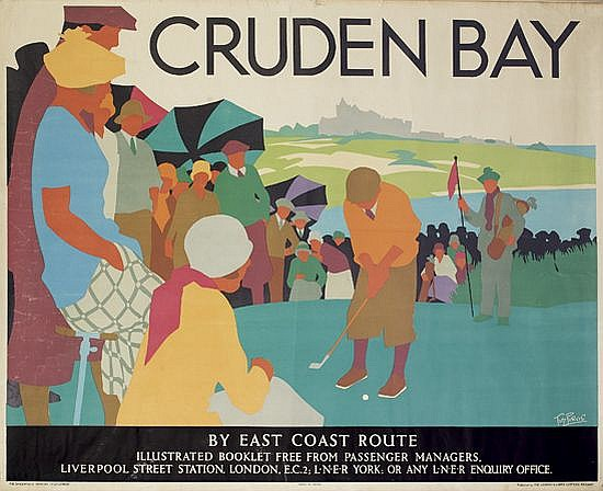 TOM PURVIS (1888-1959). CRUDEN BAY. Circa 1925. 40x50 inches, 101x127 cm. The Dangerfield Printing Co., London.