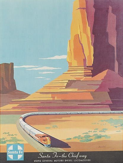 BERN HILL (1911-1977). SANTE FE -- THE CHIEF WAY. Circa 1950s. 23x18 inches, 60x46 cm.