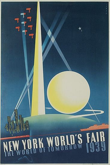 JOSEPH BINDER (1898-1972). NEW YORK WORLD'S FAIR. 1939. 30x20 inches, 76x50 cm. Grinnell Litho. Co., N.Y.C.
