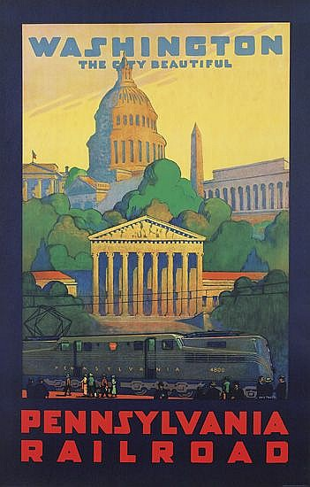 GRIF TELLER (1899-1993). WASHINGTON / THE CITY BEAUTIFUL / PENNSYLVANIA RAILROAD. 1935. 40x25 inches, 101x64 cm. O. Co., Clifton, N.J.