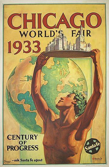 HERNANDO G. VILLA (1881-1952). CHICAGO WORLD'S FAIR 1933. 41x27 inches, 105x67 cm. Newman-Monroe Co., Chicago.