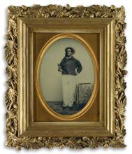 (MARITIME) Whole-plate ambrotype portrait of a dapper figure, purportedly Capt. George W. Dodge (1830- ?), master of the whaling bark S