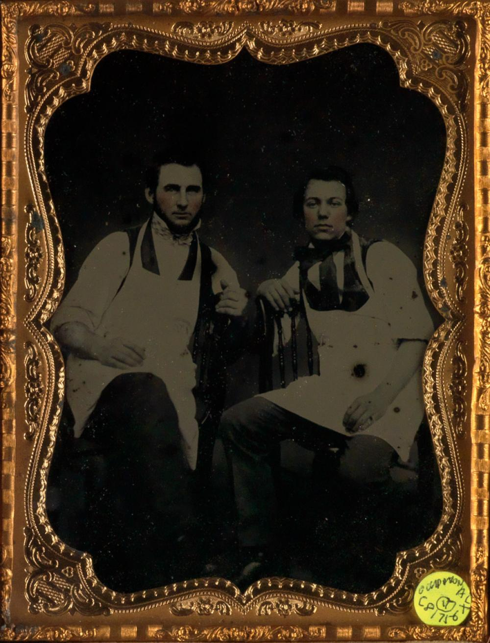 (OCCUPATIONALS) Group of 5 ambrotypes, including butchers, a stove salesman, and more.