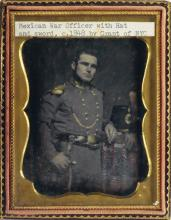 (MEXICAN WAR) Pair of daguerreotypes, comprising an artfully tinted quarter-plate of a bearded officer, which is attributed to Grant of