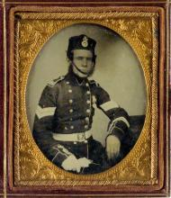 (EUROPEAN MILITARY) Group of 6 British and French ambrotypes.