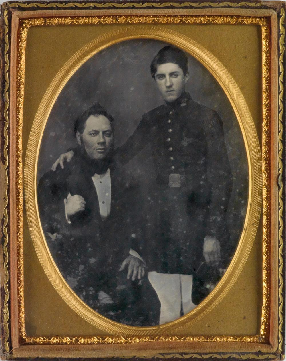 (CIVIL WAR) Pair of half-plates, comprising a daguerreotype of a soldier (his belt buckle gilted) posing with his father, and an ambrot