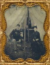 (CIVIL WAR) Group of 21 tintypes, including a half-plate of an officer and a woman seated before a tent and a quarter-plate of a young