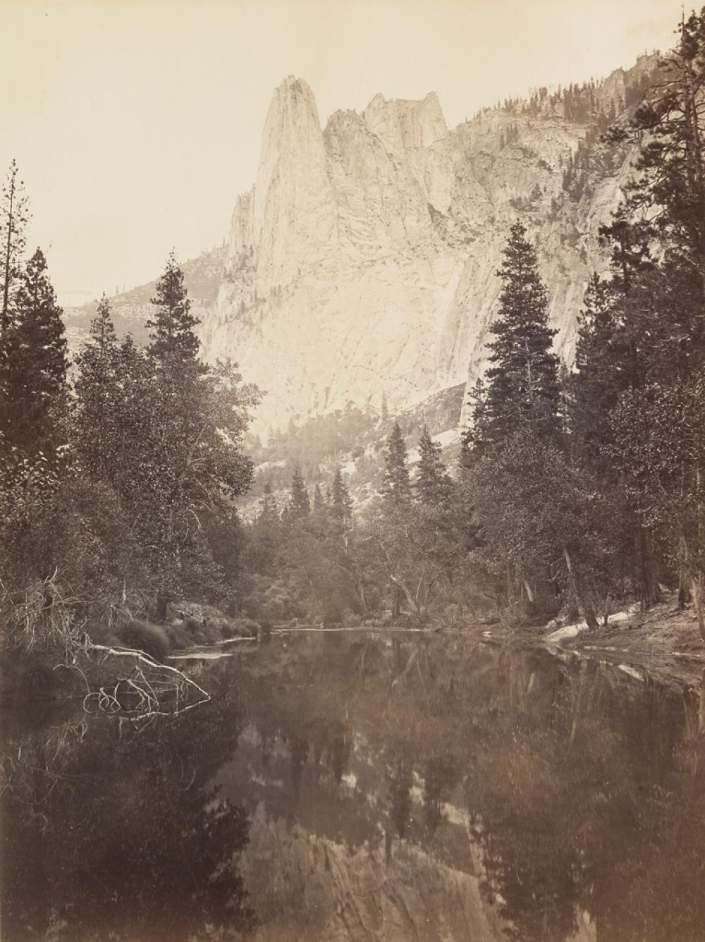 CARLETON WATKINS (1829-1916) Sentinel Rock, View Up Yosemite Valley.