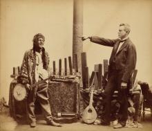 JOHN H. RYDER (1826-1904) Blackface musician with man pointing.