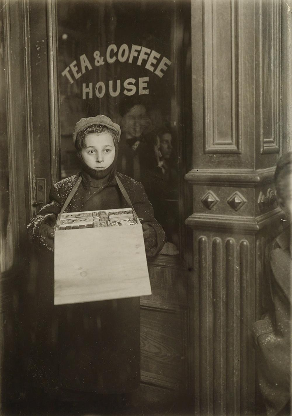 LEWIS W. HINE (1874-1940) Boy Vendor, Winter.