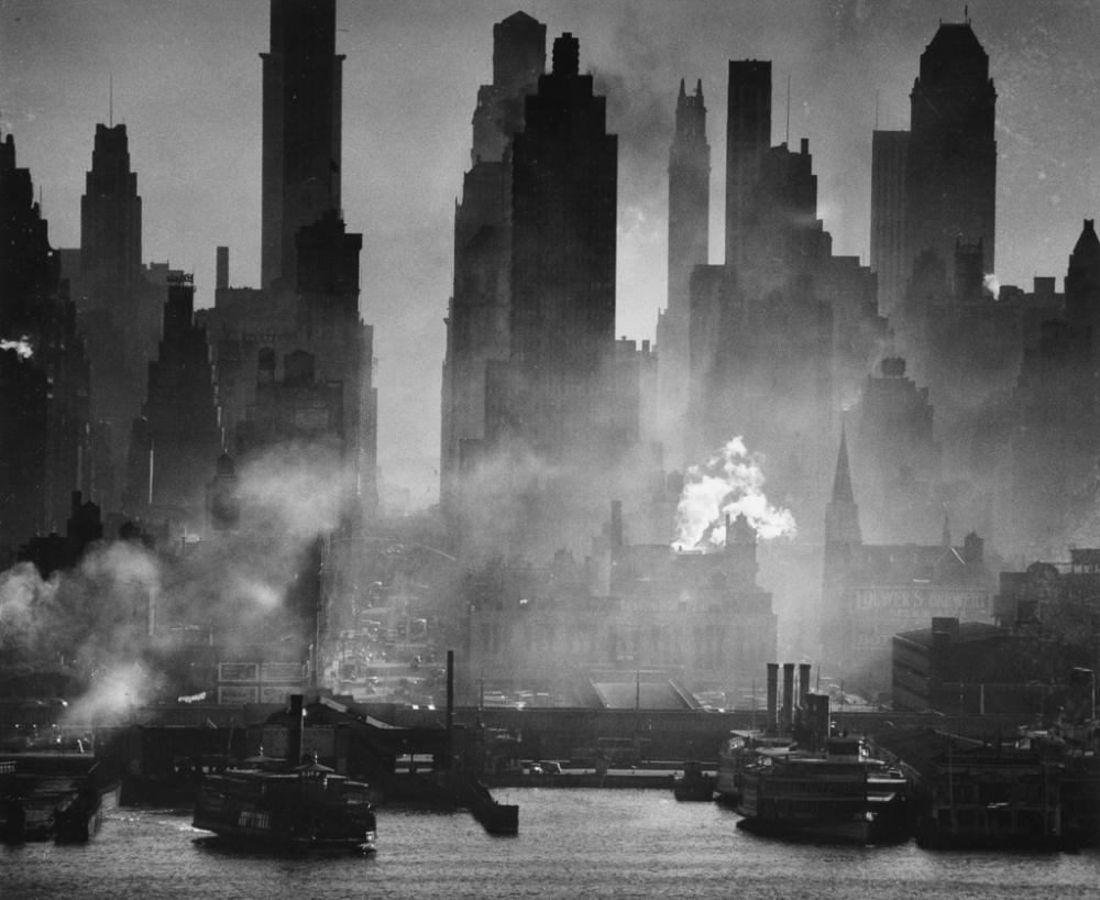 ANDREAS FEININGER (1906-1999) Midtown Manhattan at 42nd Street.