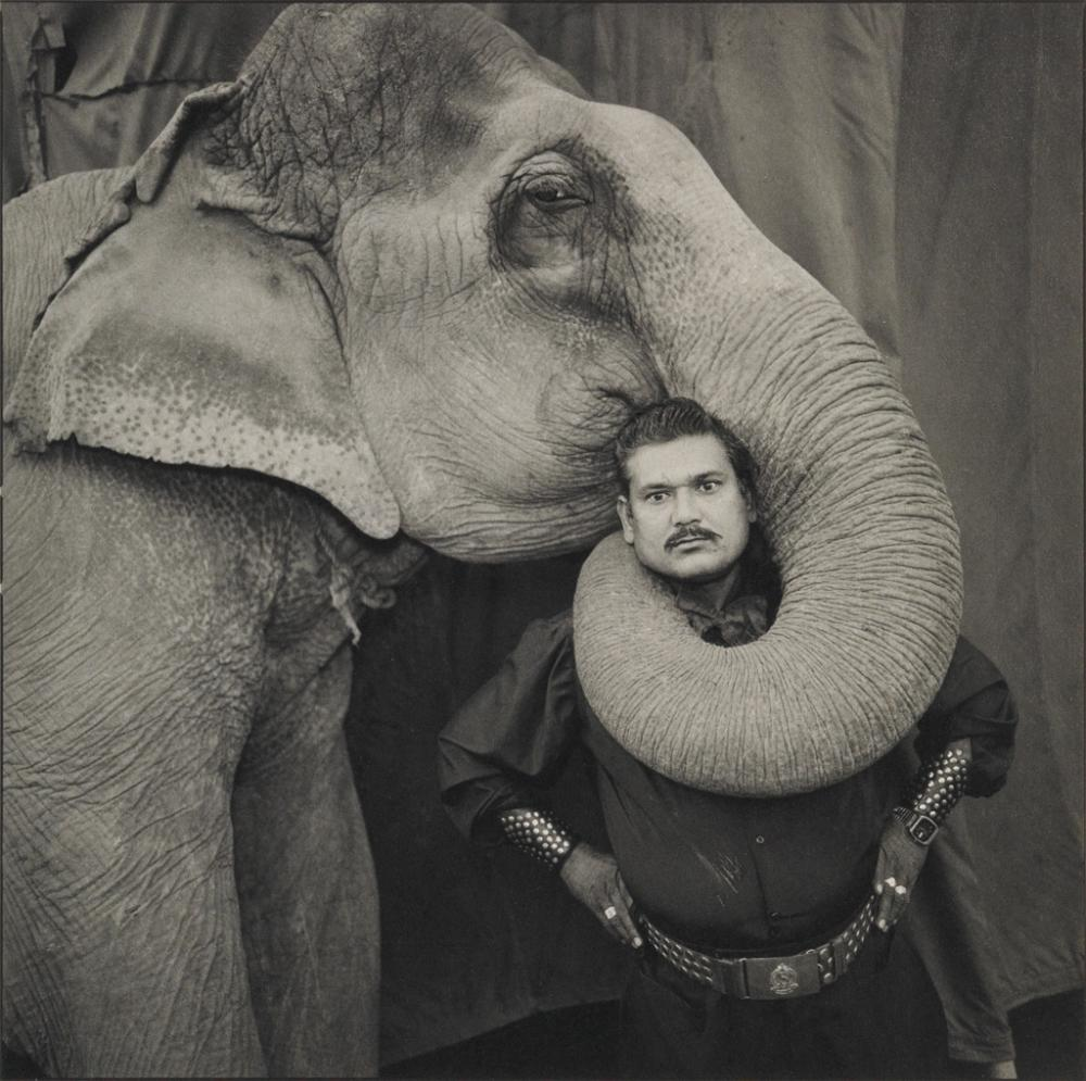 MARY ELLEN MARK (1940-2015) Ram Prakash Singh with his Elephant Shyama at the Golden Circus, Ahmedabad, India.