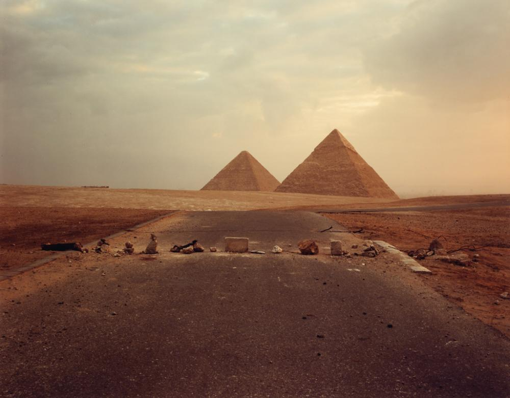 RICHARD MISRACH (1949- ) Road Blockade and Pyramids.