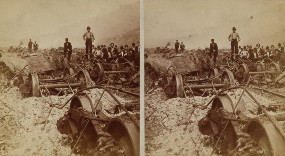 (STEREOS--PITTSBURGH RAILWAY RIOTS) A group of 12 dramatic stereo views depicting the aftermath of the Pittsburgh Railway Riots of 1877