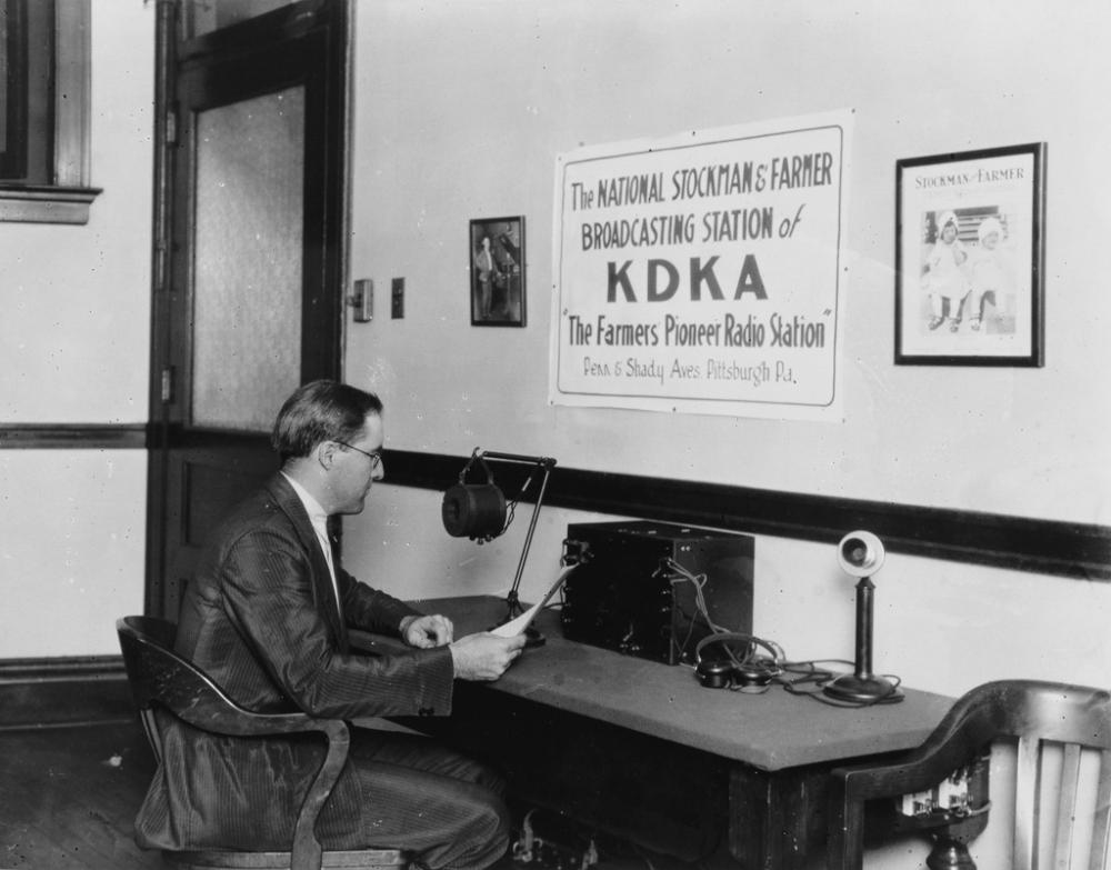 (RADIO) Group of 10 photographs of the world's first commercial radio station, KDKA (The Farmer's Pioneer Radio Station), in Pittsbur