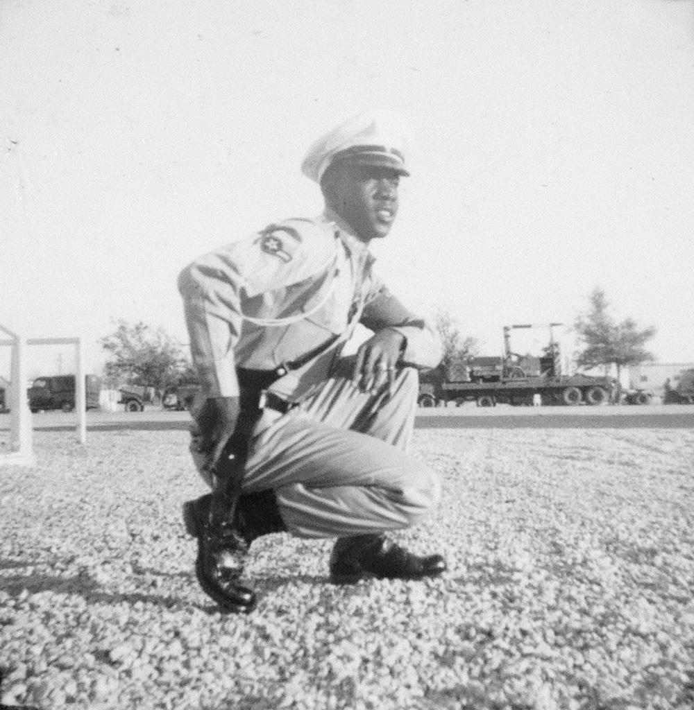 (WWII--AFRICAN AMERICANA) Album with 198 playful photographs depicting an African American soldier posing joyfully for the camera, in A