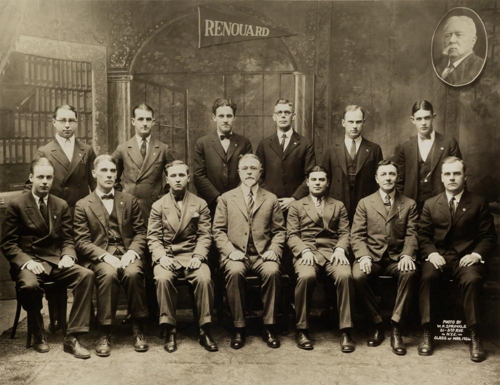 (VERNACULAR EMBALMING) The Renouard Training School of Embalmers, Class of 1926, New York (with Prof. Auguste Renouard in the upper rig