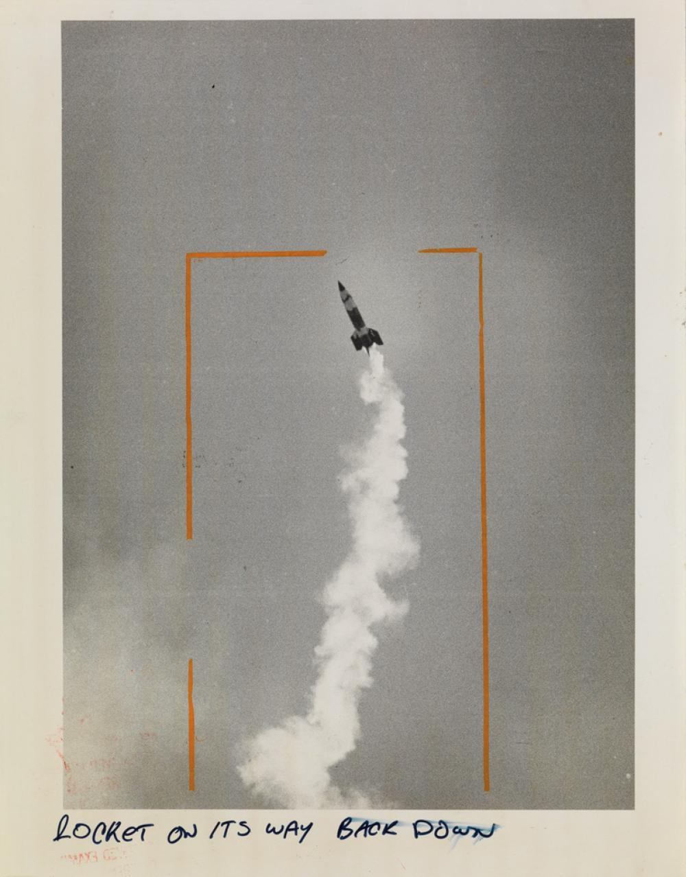 (MILITARY AND SPACE EXPLORATION) Group of 26 large-format photographs depicting early rocket and space capsule launches.