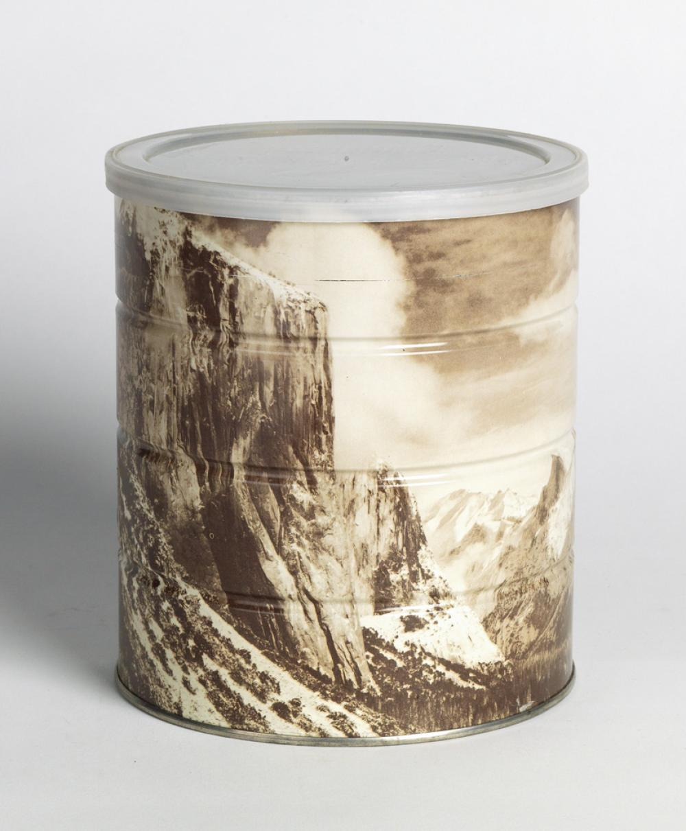(ANSEL ADAMS) Hills Brothers coffee can, with a wraparound image of Adams' Winter Morning, Yosemite Valley.