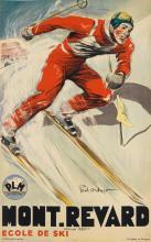 PAUL ORDNER (1900-1969). MONT. REVARD / ECOLE DE SKI. Circa 1935. 38x24 inches, 98x62 cm. M. Déchaux, Paris.