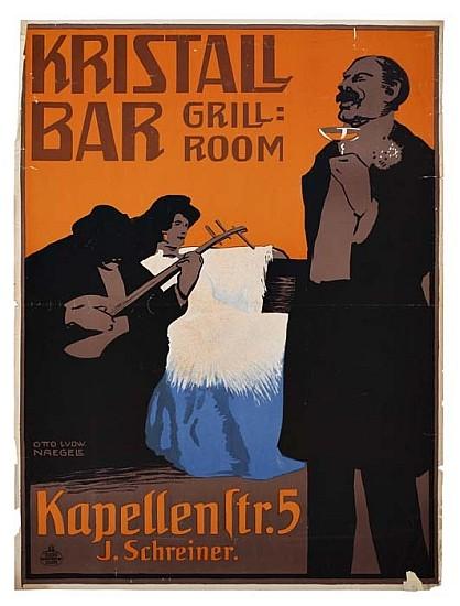 OTTO LUDWIG NAEGELE (1880-1952). KRISTALL BAR. Circa 1905. 47x35 inches, 120x90 cm. Munichner Graphische Hunstanstalt.