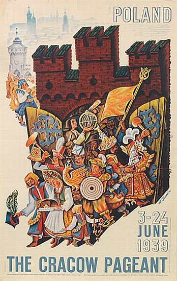 W. CHOMICZ (DATES UNKNOWN). POLAND / THE CRACOW PAGEANT. 1939. 39x24 inches, 99x63 cm. Drukarnia Narodowa w Krakowie.