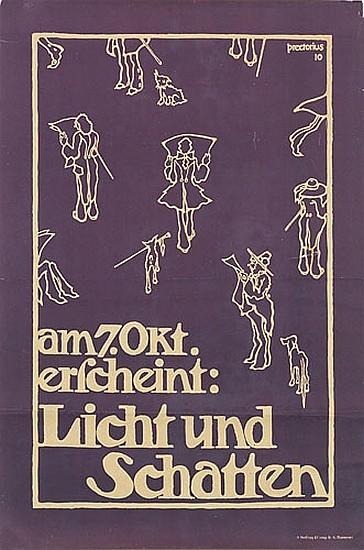 EMIL PREETORIUS (1883-1973). LICHT UND SCHATTEN. 1910. 28x19 inches, 71x48 cm. A. Molling & Co., Hannover.