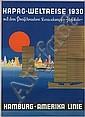 PAUL THEODORE ETBAUER (1892-1975). HAPAG-WELTREISE / HAMBURG-AMERIKA LINIE. 1930. 33x23 inches, 84x57 cm. Muhlmeister & Johler, Hamburg, Paul Theodore Etbauer, Click for value