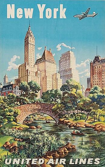 JOSEPH FEHER (1909-1988). NEW YORK / UNITED AIR LINES. 39x25 inches, 101x63 cm.