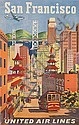 JOSEPH FEHER (1909-1988). SAN FRANCISCO / UNITED AIR LINES. 40x25 inches, 101x63 cm., Joseph Feher, Click for value