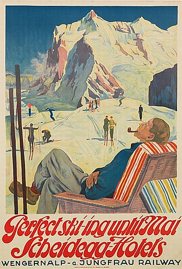 EDUARD STIEFEL ( 1875-1967). PERFECT SKI-ING UNTIL MAI / SCHEIDEGG-HOTELS. 1928. 39x26 inches, 100x69 cm. Inst. Art Bugger Ltd., Meinin