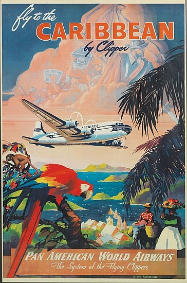 MARK VON ARENBURG (DATES UNKNOWN). FLY TO THE CARIBBEAN BY CLIPPER / PAN AMERICAN WORLD AIRWAYS. Circa 1950. 41x27 inches, 104x69 cm .