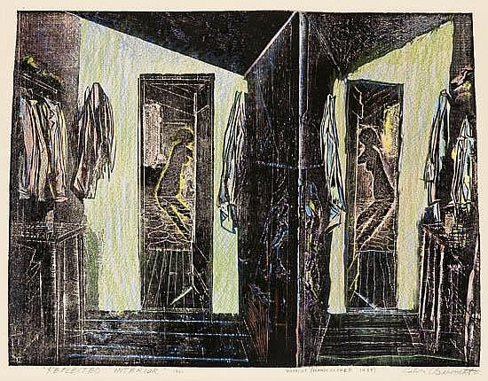 CALVIN BURNETT (1921 - 2007) Two handcolored woodcuts.