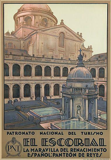 RAFAEL DE PENAGOS ZALABARDO (1889-1954). EL ESCORIAL. 1929. 41x28 inches, 104x71 cm. Talleres Voluntad, Madrid.