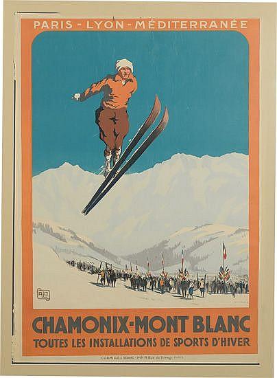 ALO (CHARLES HALLO, 1884-1969). CHAMONIX-MONT BLANC. 1924. 41x29 inches, 105x75 cm. Cornille & Serre, Paris.