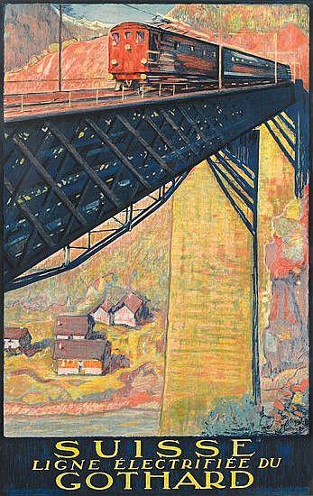 DANIELE BUZZI (1890-1974). SUISSE / GOTHARD. 1924. 39x24 inches, 100x62 cm. P. Attinger S.A. Neuchatel.