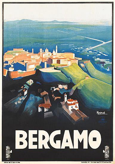 MARCELLO NIZZOLI (1887-1960). BERGAMO. 1927. 39x27 inches, 99x70 cm. Edizioni Star, Milan.