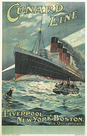 ODIN ROSENVINGE (1880-1957). CUNARD LINE / LIVERPOOL - NEW - YORK - BOSTON [LUSITANIA.] Circa 1907. 39x24 inches. Turner & Dunnett Lith