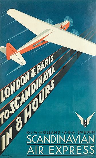 ANDERS BECKMAN (1907-1967). SCANDINAVIAN AIR EXPRESS. 1931. 39x24 inches, 100x61 cm. Ivar Haeggstroms, Stockholm.