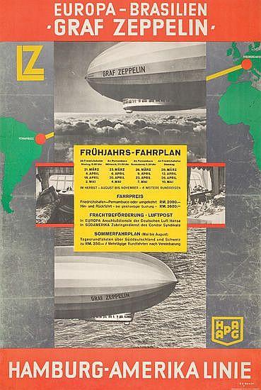 THEODORE ETBAUER (1892-1975). EUROPA-BRASILIEN / GRAF ZEPPELIN. 1932. 40x27 inches. Muhlmeister & Johler, Hamburg.